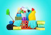 foto of housekeeping  - Cleaning supplies in a basket  - JPG