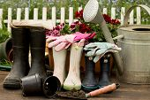 pic of boot  - gardening tools adult and child boots and handshoes in the garden - JPG