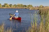 picture of collins  - senior male paddler paddling a red canoe on a calm lake - JPG