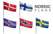stock photo of scandinavian  - Scandinavian counties Nordic states flags isolated on white - JPG