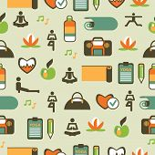 Seamless Pattern With Yoga Equipment.