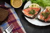 picture of butter-lettuce  - Homemade sandwich with salmon and rye bread  - JPG