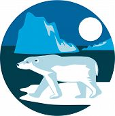 stock photo of iceberg  - Illustration of a polar bear walking standing on ice viewed from the side with iceberg and moon in the background set inside circle shape done in retro style - JPG