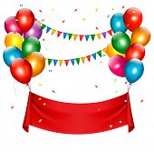 image of balloon  - Holiday birthday banner with colorful balloons - JPG
