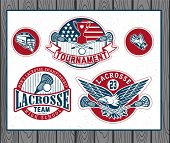 stock photo of lax  - Set of vintage lacrosse labels and badges - JPG