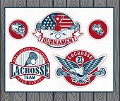Set of vintage lacrosse labels and badges poster