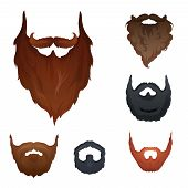 stock photo of rogue  - Different style of beard set vector - JPG