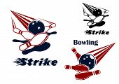 stock photo of bowling ball  - Bowling strike icons or emblems design with bowling balls crashing ninepins in red - JPG
