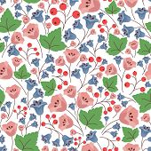 picture of blue-bell  - Retro stylized blue and pink bell flowers seamless pattern in pastel colors with red berries green leaves for vintage wallpaper or textile design - JPG