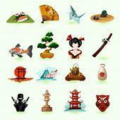 stock photo of sushi  - Japan icons set with sushi pagoda origami fan isolated vector illustration - JPG