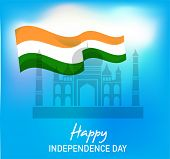 picture of indian independence day  - illustration of wavy Indian flags with monument - JPG