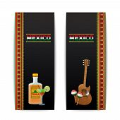 picture of maracas  - Mexican banners vertical set with tequila cocktail maraca and guitar isolated vector illustration - JPG