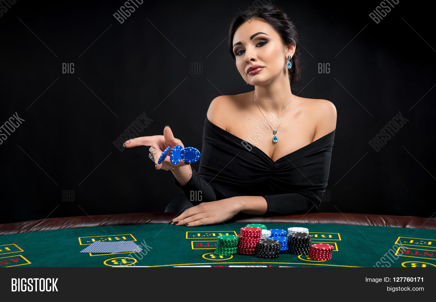 Sexy Woman Poker Cards Chips Image Amp Photo Bigstock