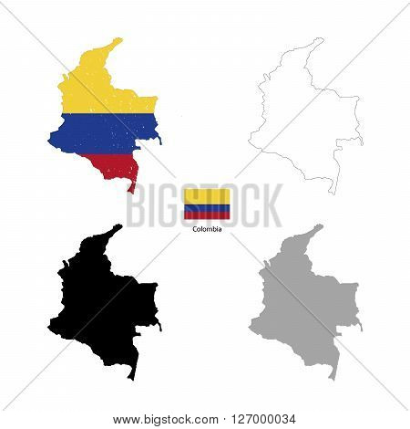 Colombia country black silhouette and with flag on background isolated on white