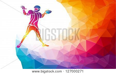 Abstract american football player, color vector illustration on polygonal multicolor background