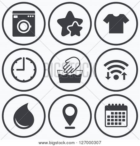 Clock, wifi and stars icons. Wash machine icon. Hand wash. T-shirt clothes symbol. Laundry washhouse and water drop signs. Not machine washable. Calendar symbol.
