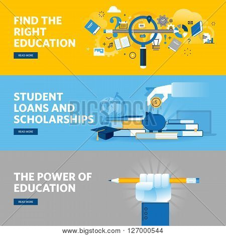 Set of flat line design web banners for education, student loans, scholarships, choice of education and profession. Vector illustration concepts for web design, marketing, and graphic design.