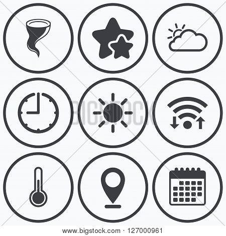 Clock, wifi and stars icons. Weather icons. Cloud and sun signs. Storm symbol. Thermometer temperature sign. Calendar symbol.