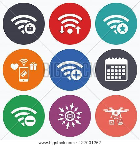 Wifi, mobile payments and drones icons. Wifi Wireless Network icons. Wi-fi zone add or remove symbols. Favorite star sign. Password protected Wi-fi. Calendar symbol.
