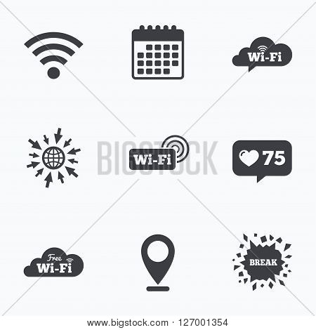 Calendar, like counter and go to web icons. Free Wifi Wireless Network cloud speech bubble icons. Wi-fi zone sign symbols. Location pointer.