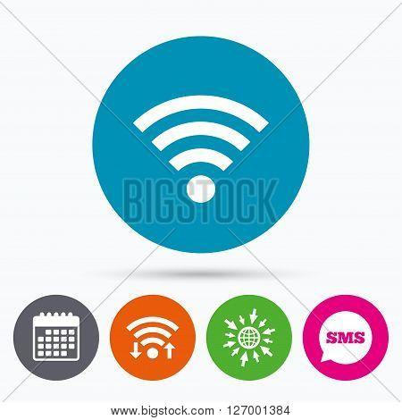 Wifi, Sms and calendar icons. Wifi sign. Wi-fi symbol. Wireless Network icon. Wifi zone. Go to web globe.