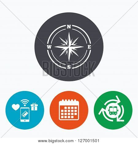 Compass sign icon. Windrose navigation symbol. Mobile payments, calendar and wifi icons. Bus shuttle.
