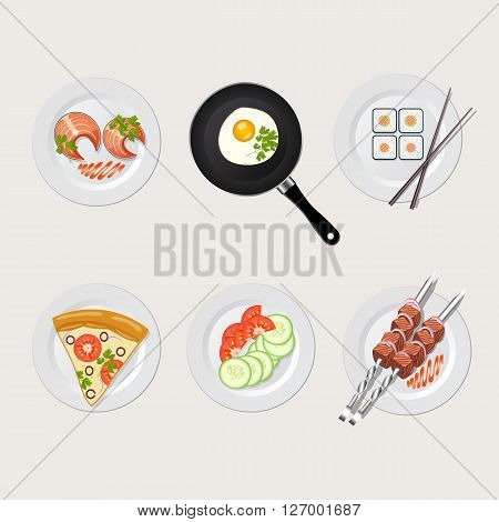 Food icon set pizza egges sushi skewers fish