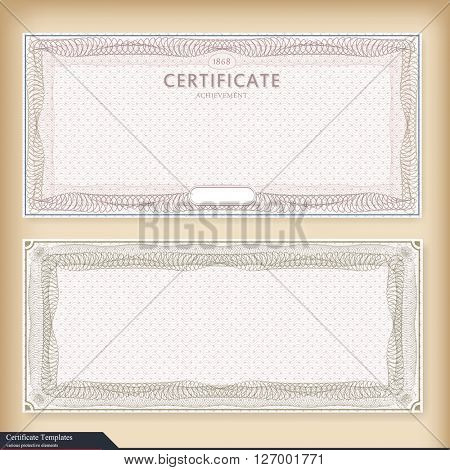 Vintage certificate template with watermark. Ornate gift certificate with watermark. Vintage style, design. Vector illustration. detailed vintage certificate template with guilloche border and seal