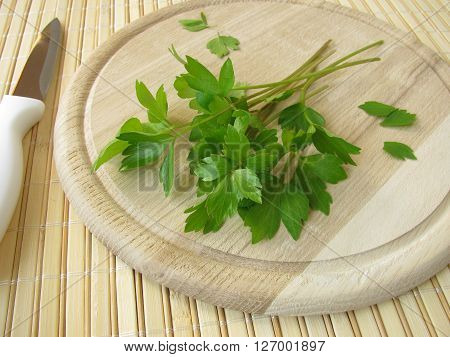 Bunch of lovage on cutting board for cooking