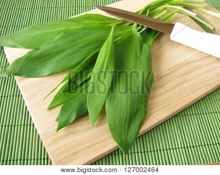 Bunch of ramsons on wooden cutting board