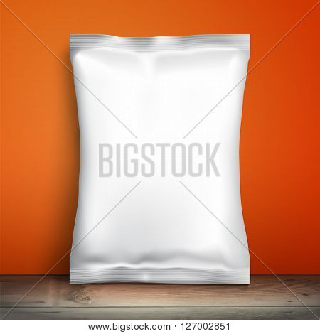 Blank white packaging. Sample package. Blank template for design. Net packaging is on shelf. Mockup Foil Food Snack pack, packaging or wrapper. Plastic 3D Pack Template for design and branding. Red