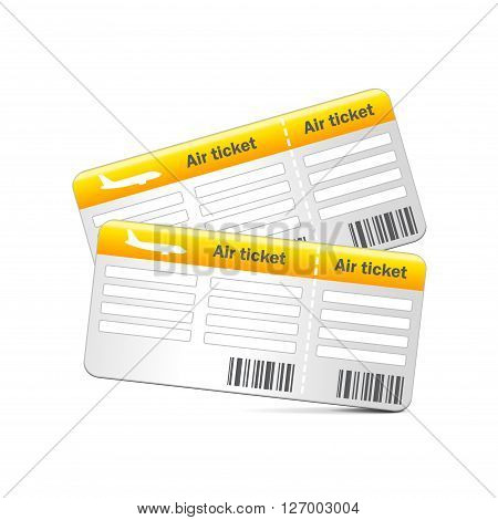 Air tickets isolated on white photo-realistic vector illustration