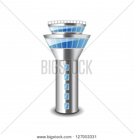 Tower control isolated on white photo-realistic vector illustration