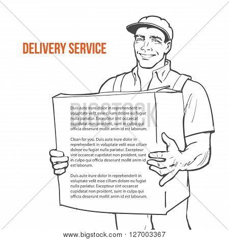 Moving Companies. Shipping. Happy loader stands with box. illustration. Move house service. Transportation of things. Delivery of goods. Box. Carrier with a box isolated. Transportation package