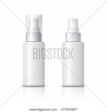 Realistic Cosmetic bottle can sprayer container. Dispenser for cream soups and other cosmetics With lid and without. Template For Mock up Your Design. vector illustration.
