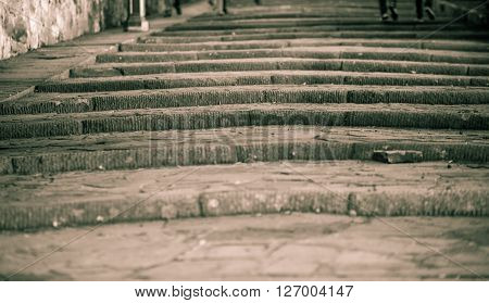 Ancient stone steps in the city of florence