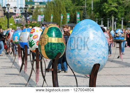 KYIV UKRAINE - April 23 2016. VI Ukrainian festival of Easter eggs. 374 Easter eggs in one meters in height painted by masters-painters from all Ukrainian regions