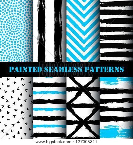 Abstract Painted Patterns Set. Collection of painted seamless patterns in black, blue and white colors. Horizontal and vertical striped patterns, abstract bird background, blue chevron pattern. Vector