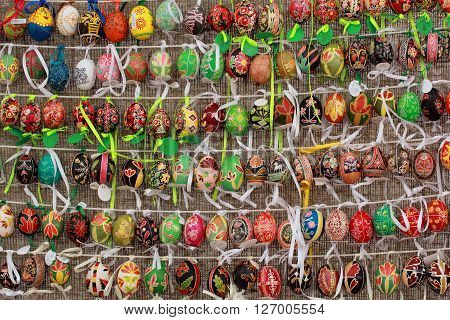 KYIV UKRAINE - April 23 2016. VI Ukrainian festival of Easter eggs. Easter eggs painted by masters-painters from all Ukrainian regions