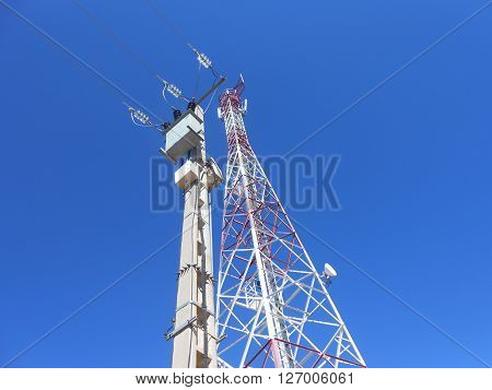 Telecom tower with blue sky in the background