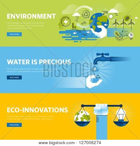 Set of flat line design web banners for environment, renewable energy, green technology, ecology. Vector illustration concepts for web design, marketing, and graphic design.