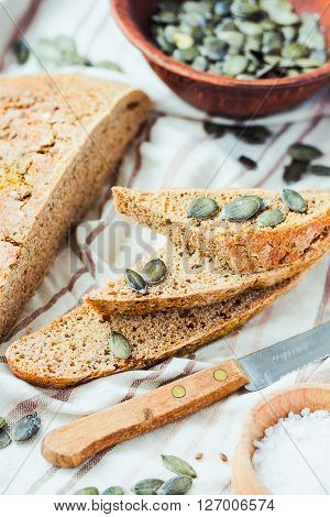 Rye Bread Unleavened With Flax And Pumpkin Seeds,rustic