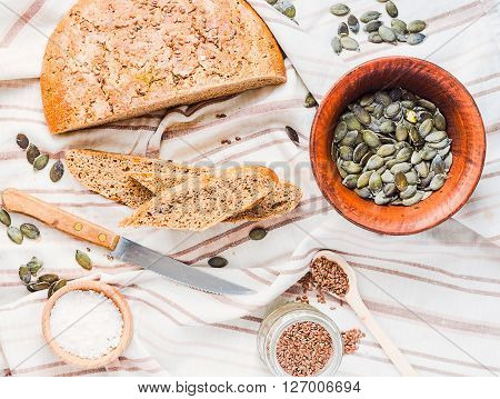 Rye Bread With Flax And Pumpkin Seeds, Yeast Free, Top View