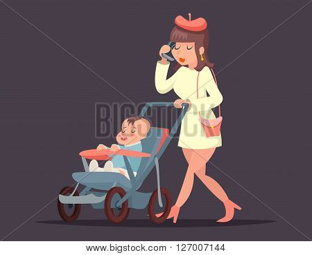 Cute mother child with mobile phone. Isolated vector illustration