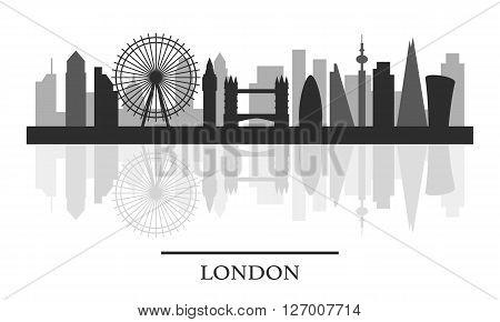 London skyline, black and white stylish silhouette, vector illustration