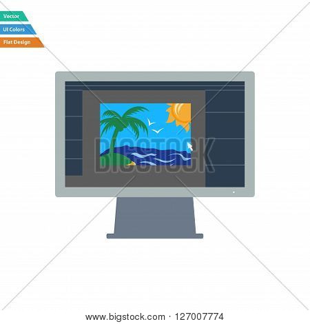Flat Design Icon Of Photo Editor On Monitor Screen