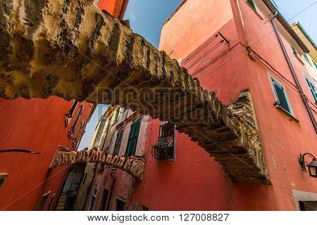 Traditional architecture in rural Italian village, on the Mediteranean Coast