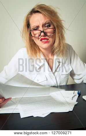 busy business woman close up having troubles