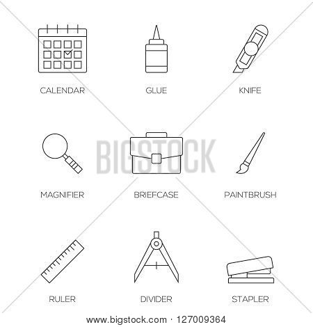 Office tools outline icons vol 3. Business office equipments
