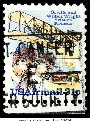 STAVROPOL RUSSIA - APRIL 05 2016: a stamp printed in USA shows Orville and Wildur Wright Aviation Pioneers payment airmail circa 1976